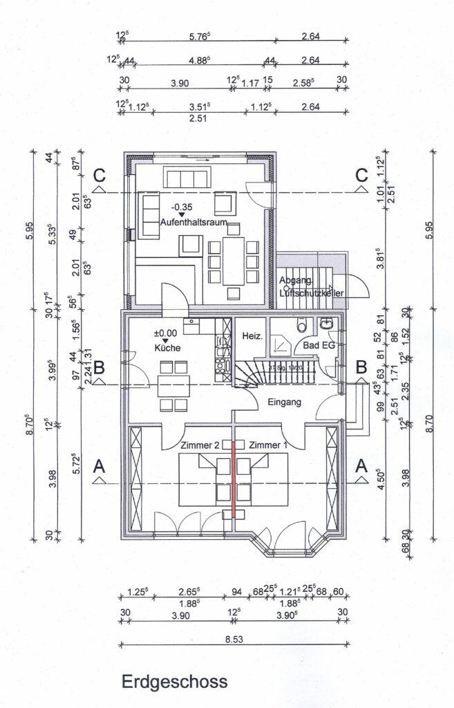 Hier können Sie die Aufteilung des Erdgeschosses sehen