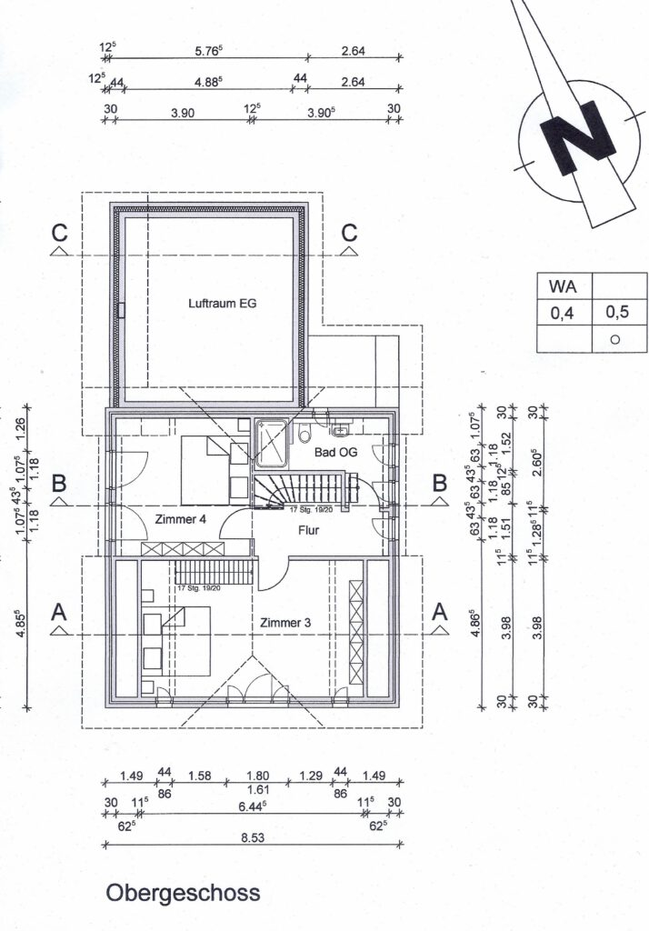 Hier können Sie den Grundriss des Obergeschosses sehen