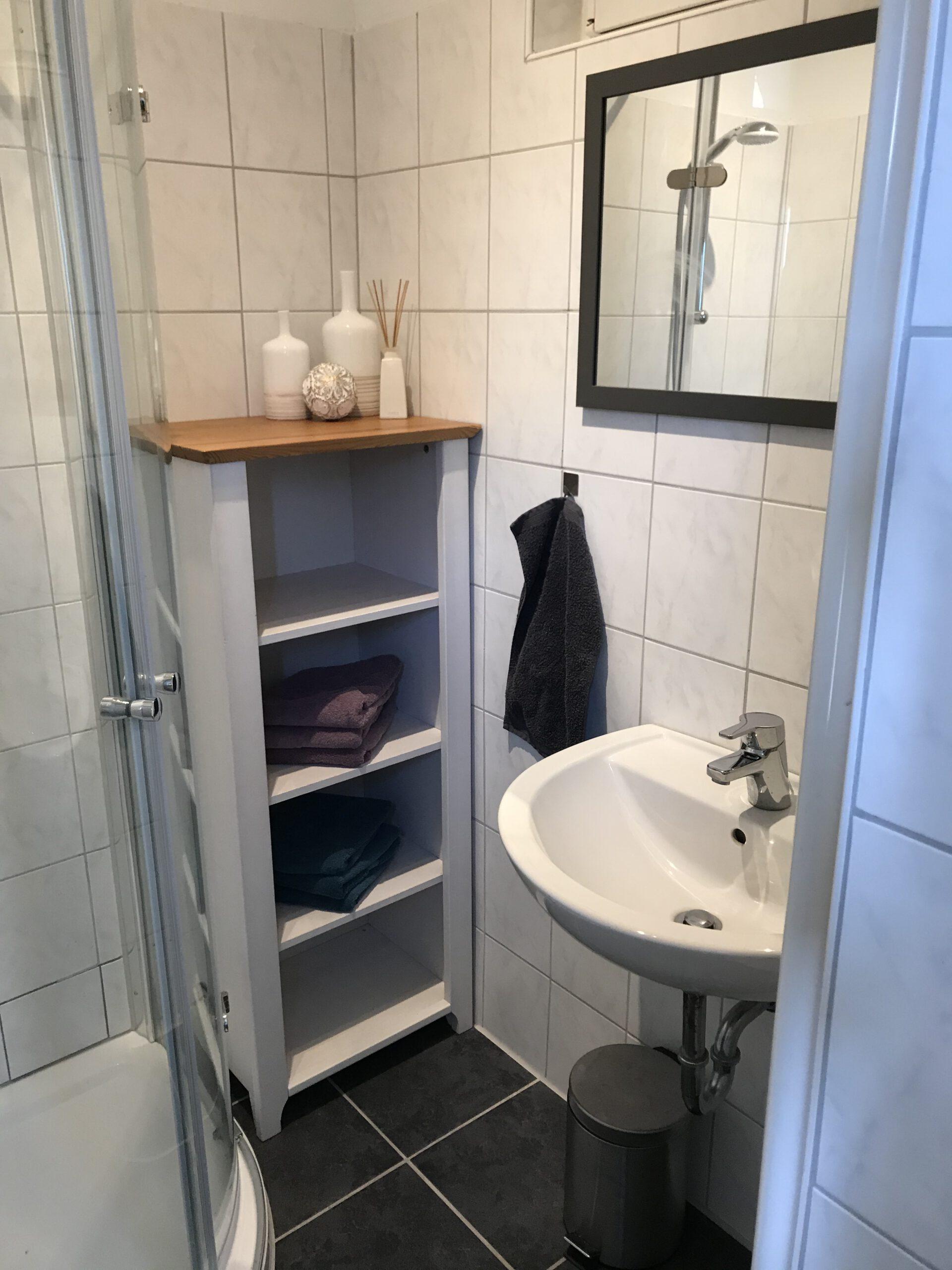 """Grundrisse und Ansichten der """"Villa Aldenburg"""" - Beide Bäder sind mit einer Dusche, Waschbecken und WC ausgestattet."""